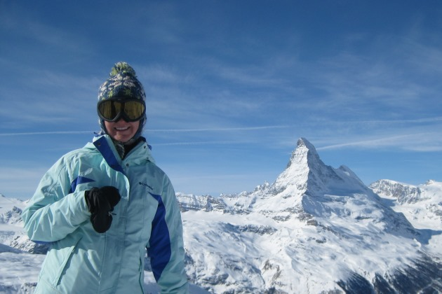 Skiing the Swiss Alps near the Matterhorn.