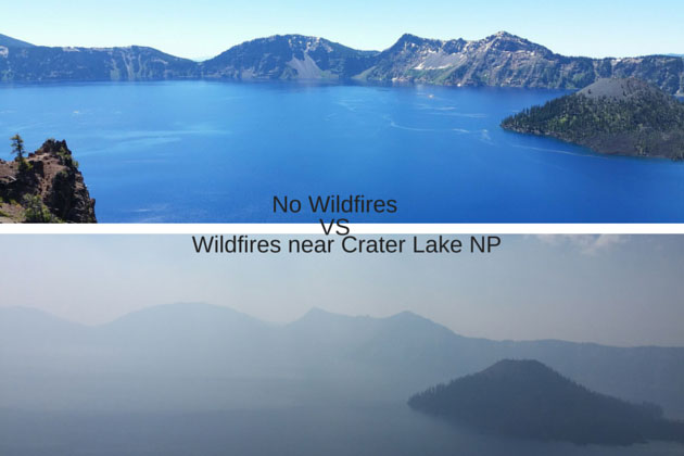 Crater Lake on a clear day versus wild fires