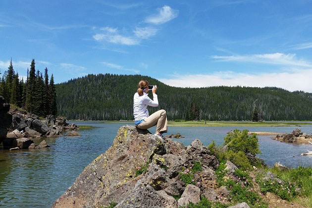 Sitting on a rock at Sparks Lake