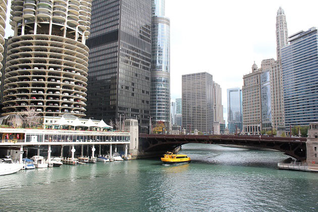 Chicago Skyscrapers Along River