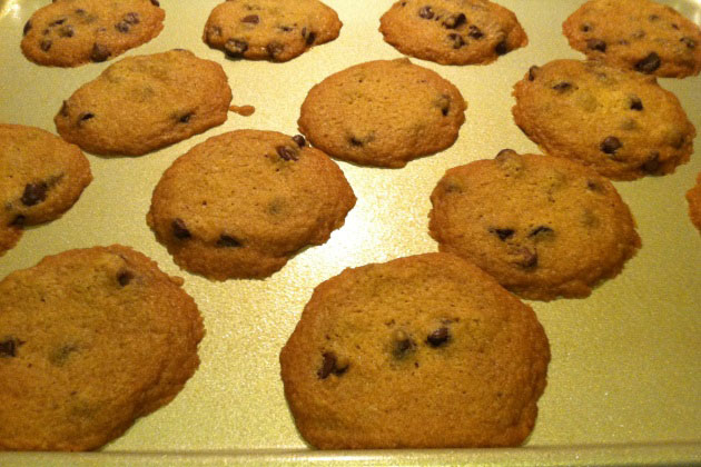 Healthy chocolate chip cookies on cookie sheet