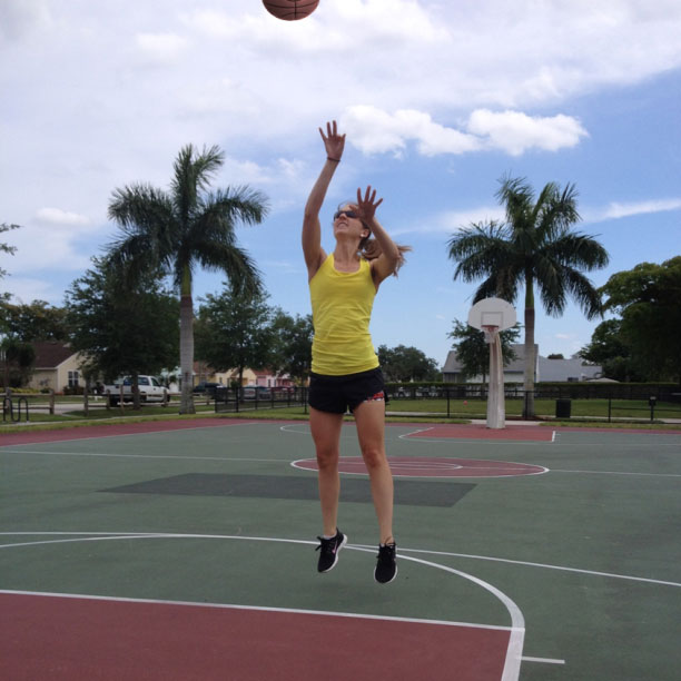 Playing basketball in fabletics outfit