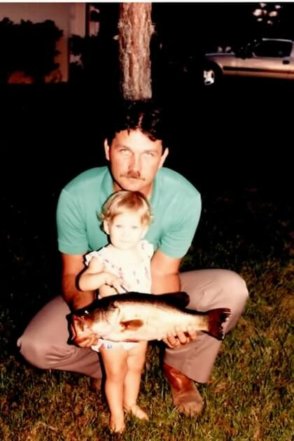Dad and baby fishing